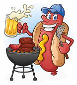 foto of wiener dog  - A hot dog cartoon character holding a spatula and grilling burgers and bratwursts at a tailgate party while drinking beer - JPG