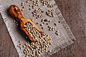 stock photo of peppercorns  - White peppercorns in wooden scoop on burlap - JPG