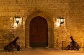 image of royal palace  - Entrance door Almudaina Royal Palace in Palma de Mallorca Balearic Islands Spain - JPG