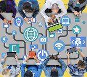 stock photo of social system  - Connecting Internet Online Social Media Social Network Concept - JPG