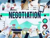 stock photo of negotiating  - Negotiation Benefit Compromise Contract Growth Concept - JPG