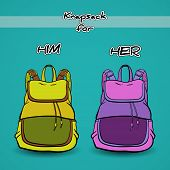image of knapsack  - Hand drawn green and purple knapsacks on the blue background - JPG