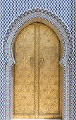 picture of royal palace  - Golden door with beautiful mosaics on Royal Palace in Fez - JPG