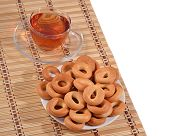 image of bagel  - Top view of bagels and a tea cup - JPG