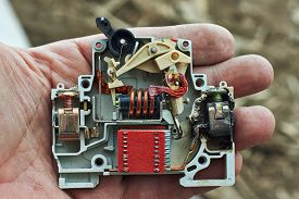 stock photo of breaker  - Electric circuit breaker overload burned - JPG