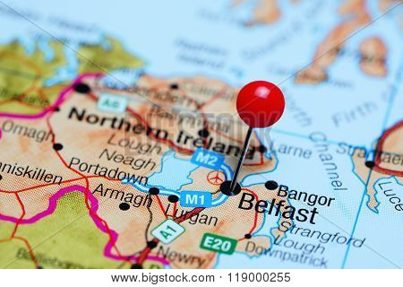 Belfast pinned on a map of Northern Ireland