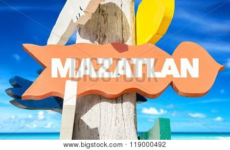 Mazatlan welcome sign with beach