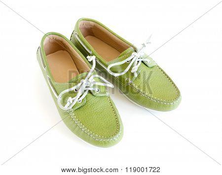 women's modern style green moccasin