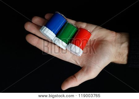 Rgb Colours In The Man Hand