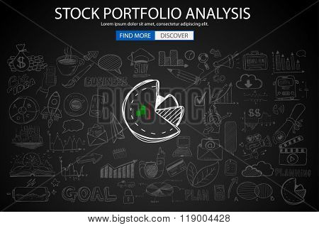 Stock portfolio Analisys  Concept with Doodle design style :finding solution, brainstorming, creative thinking. Modern style illustration for web banners, brochure and flyers.