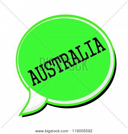 Australia Black Stamp Text On Green Speech Bubble