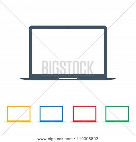 Laptop Icons Colored Set On The White Background. Stock Vector Illustration Eps10