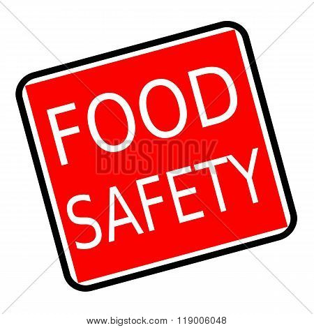 Food Safety White Stamp Text On Red Background