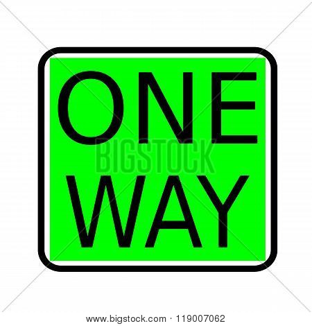 One Way Black Stamp Text On Green Background