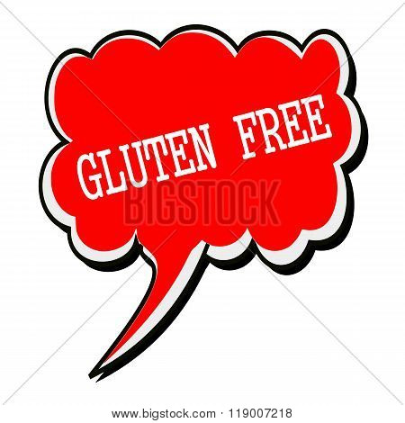 Gluten Free White Stamp Text On Red Speech Bubble
