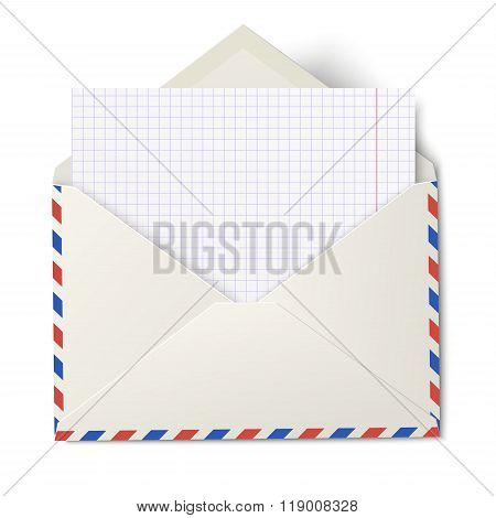 Opened Air Mail Envelope With White Sheet Of Squared Paper Inside Isolated