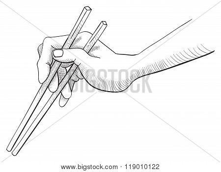 Correct Way Of Holding Chopsticks Black And White Line Sketch
