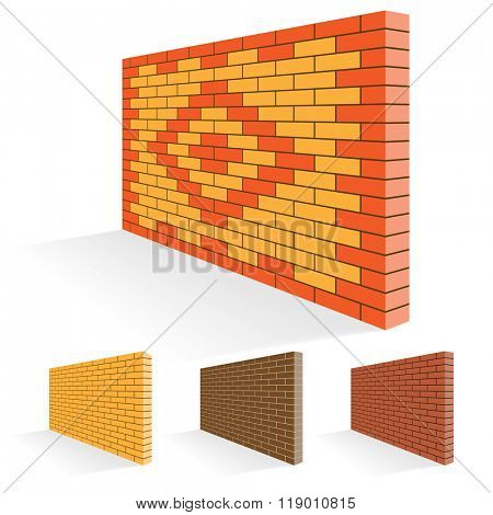 Brick wall of facing bricks. Illustration Set.