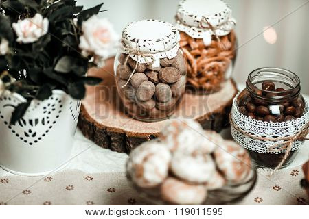 Beautiful Composition With Tea And Cakes On A Light Background