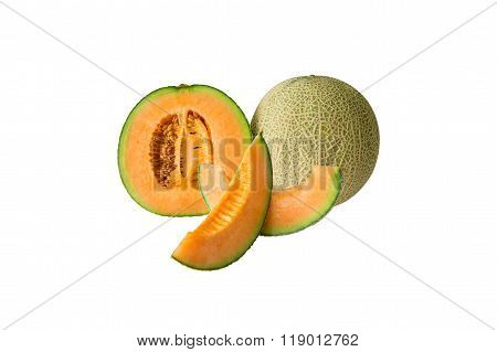 Cantaloupe Melon Isolated On White Background.