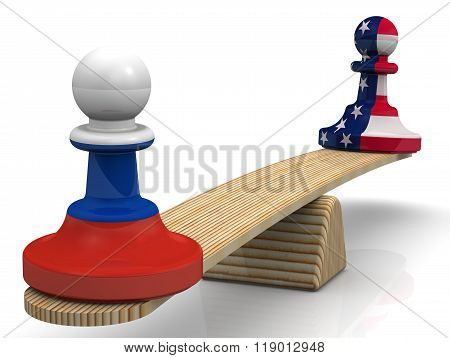 The balance between the Russian Federation and the United States of America. Concept