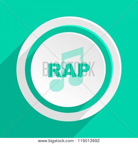 rap music flat design modern web icon with shadow for internet and app