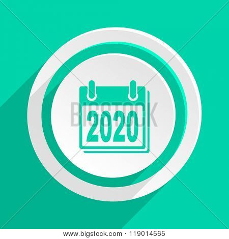 new year 2020 flat design modern web icon with shadow for internet and app