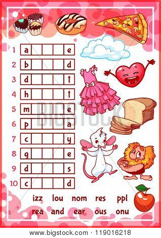 Education Rebus Game For Preschool Kids.