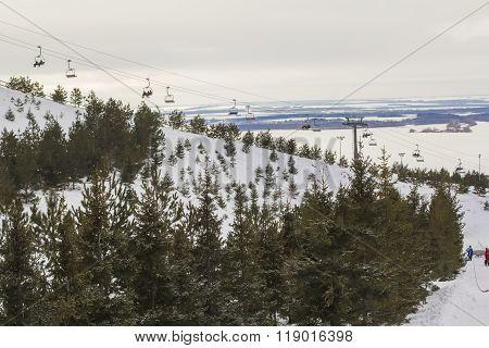 background landscape of ski slopes and lifts in the ski resort