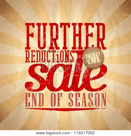 Further reductions sale design in retro style, end of season clearance banner, rasterized version