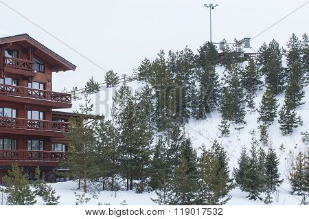 hotel in the style of an Alpine chalet in ski resort