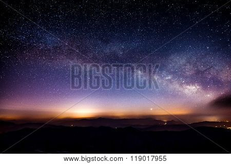Milky Way Galaxy Over Mountain At Night, Deogyusan Mountain In South Korea.
