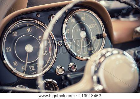 Dashboard Of A Vintage Car