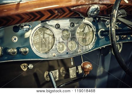 Blue Dashboard Of A Vintage Car