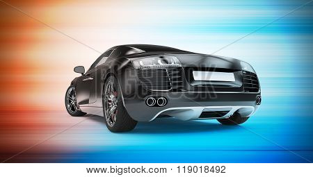 Back Of A Generic Black Sport Car