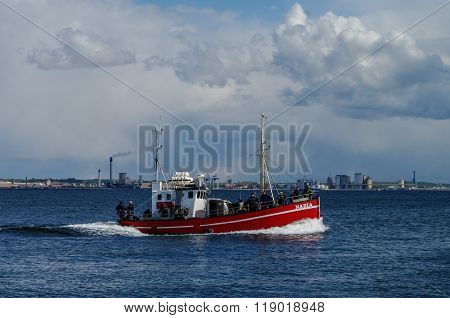 Helsingborg, Denmark  - 1 May 2011: Fishing Boat Near Helsingborg City In Strait Between  Denmark An