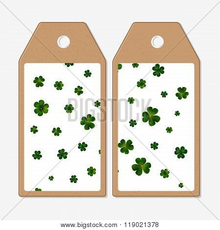 Vector tags design on both sides, cardboard sale labels. St Patricks day vector background, green cl