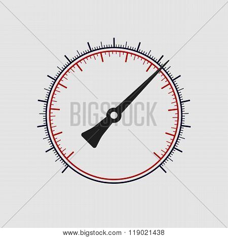 Vector manometer without numbers on a white background.