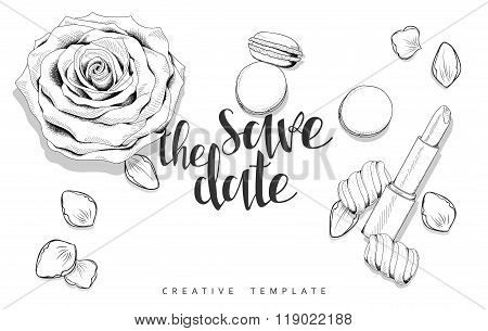 Beauty background with roses, petals, sweets. Stylish sketch template
