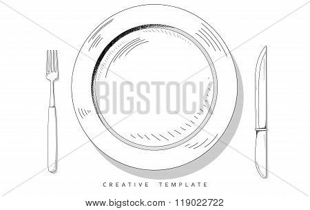 Set sketch cutlery. Plate, fork and knife. Template for presentation