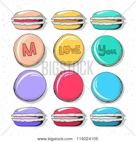 Set realistic sketch macaroon. Sweets handmade for design. Confectionery