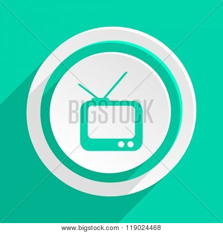 tv flat design modern web icon with shadow for internet and app