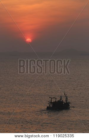 Fishing Boat On Sea In The Evening And Sunset.