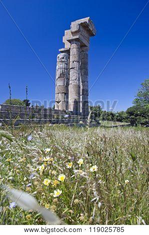 Antique Pillars In Rhodos Island Greece