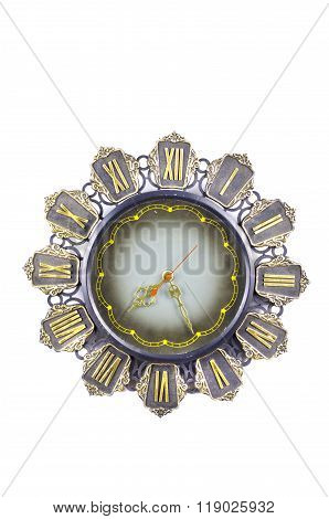 Antique Ornate Clock Isolated On White