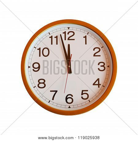Orange Wall Clock Isolated In Twelve O'clock.