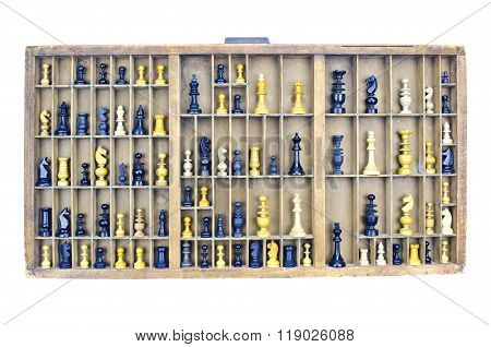 Wooden Vintage Partitioned Drawer Shelf With Chess Figures