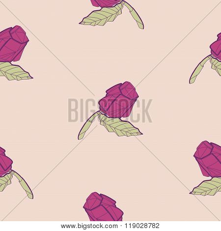 Pattern With Illustration Of Abstract Origami Red Rose Flower