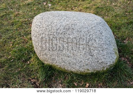 Big Solid Soapstone Lying In The Grass