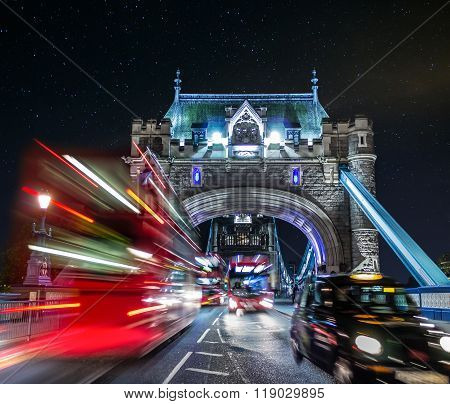 Tower Bridge And Traffic Color Mix